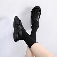 凉鞋女pp020新式njins潮网红学生(小)香风交叉绑带厚平底罗马鞋