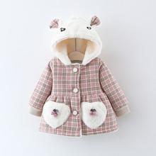 女童棉pp2020新nj加厚加绒格子棉袄洋气婴儿宝宝冬装棉衣外套