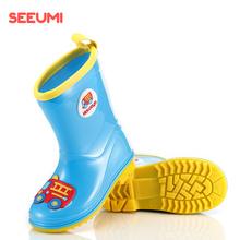 Seeppmi轻便柔nj秋防滑卡通男童女童宝宝学生胶鞋雨靴
