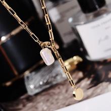韩款天pp淡水珍珠项njchoker网红锁骨链可调节颈链钛钢首饰品