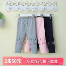 (小)童装pq宝宝打底裤wg季0一1-3岁可开档薄式纯棉婴儿春装外穿