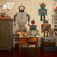 雅心机器pr1儿童墙纸di童房男孩房卧室壁纸卡通定制无缝墙布