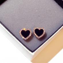 日韩国pr25银针爱ch超闪水钻心形气质百搭耳钉时尚个性耳饰女