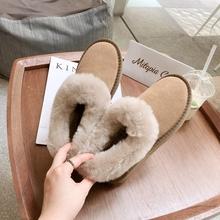 202pr冬季新式时ch皮面包鞋女防滑皮毛一体短靴棉靴1894