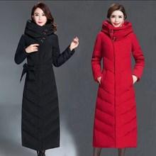 冬季新pr羽绒服女中ch厚过膝显瘦韩款保暖修身轻便中青年外套
