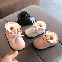 202pr秋冬新式0ch女宝宝短靴子6-12个月加绒公主棉靴婴儿学步鞋2