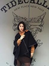 女装春pr新式高端定so街头黑色双面羊毛呢拼皮边斗篷披肩外套