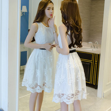 202pr年新式蕾丝ck女超仙气质夏季碎花刺绣裙子白色仙女裙女士