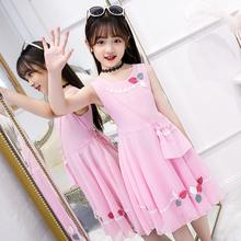 女童夏pr2020新je裙雪纺中大童韩款公主裙12岁女孩洋气裙子潮