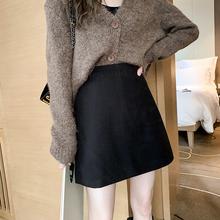 毛呢半身裙女秋冬pr5020新nt腰显瘦黑色包臀裙呢子a字短裙子