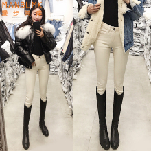 米白色pr腰加绒牛仔ve020新式秋冬显高显瘦百搭(小)脚铅笔靴裤子