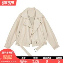 【9折】VEGpr CHANve皮衣女春装西装领BF风帅气pu皮夹克短外套