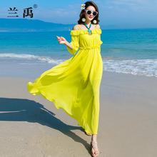 黄色波ps米亚长式雪xo裙女大摆修身显瘦海边度假长裙沙滩裙子