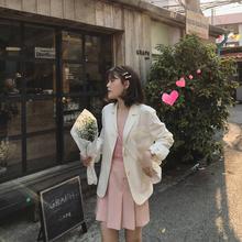 ◆SRps◆夏季薄式lo闲(小)个子白色棉麻(小)西装外套女