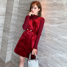 MIUpsO针织抹胸ch绒系带收腰红色假两件连衣裙女2020春装新式k