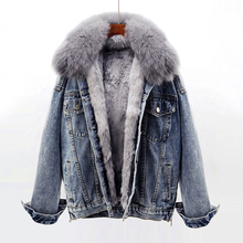 [psych]牛仔外套女加绒韩版狐狸毛