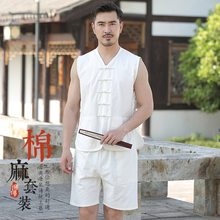 中国风pt装男士中式ki心亚麻马甲汉服汗衫夏季中老年爷爷套装