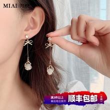 气质纯pt猫眼石耳环bu0年新式潮韩国耳饰长式无耳洞耳坠耳钉耳夹