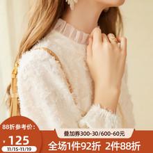 202pu秋冬季新式ac女加绒蕾丝打底衫高领衬衫甜美内搭洋气上衣