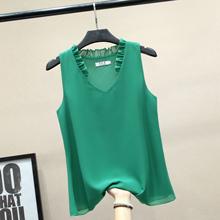 夏季无pu背心女装Vac雪纺衫2020欧洲站新式宽松洋气打底上衣