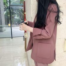 西装外pu女2020ac款新式宽松复古气质时尚(小)西服休闲上衣女潮