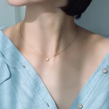 18kpu钻石彩金项xi 锁骨链玫瑰金简约森系冷淡风大方装饰吊坠