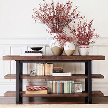 实木玄pu桌靠墙条案xi桌条几餐边桌电视柜客厅端景台美式复古