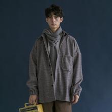 日系港pu复古细条纹xi毛加厚衬衫夹克潮的男女宽松BF风外套冬