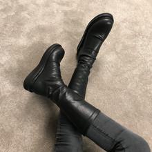 201pu秋冬新式圆xi靴子女厚底不过膝网红瘦腿弹力靴长筒靴