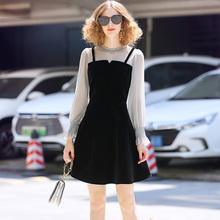 罗家RpuOJUL xi0春装女装新 优雅雪纺拼接丝绒假两件修身连衣裙SW