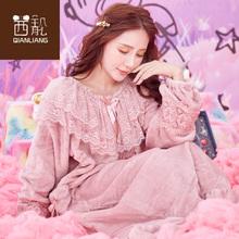 珊瑚绒pu裙女秋冬季xi爱卡通加厚加长式家居服法兰绒连体睡衣