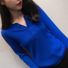 201pu春秋韩款半xi红毛衣女宽松外穿羊绒衫加厚低领圆领打底衫