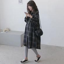 孕妇春pu连衣裙长袖xi孕纯棉中长式休闲春秋格子衬衫开衫外套