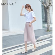 慕怀2pu20春夏季xi式网纱休闲中腰甜美少女百褶裙杏色半身裙子