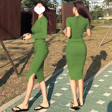 性感紧pu包臀连衣裙xi长袖子褶皱长式过膝t恤裙女夏显瘦长裙潮