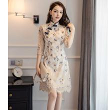 新式旗pu2020新xi式复古中国风法式优雅少女日常改良款连衣裙