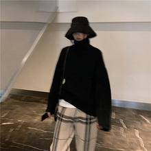 加厚羊pu羊绒衫高领xi女士毛衣女宽松外穿打底针织衫外套上衣