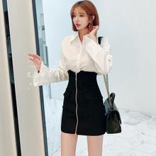 超高腰pu身裙女20xi式简约黑色包臀裙(小)性感显瘦短裙弹力一步裙