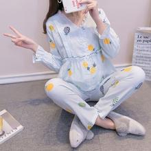 薄式纯pu纱双层纱夏xi产后韩款喂奶哺乳衣春秋孕妇睡衣