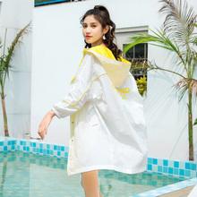中长式pu晒衣女20xi式夏季薄式防紫外线透气百搭长袖外套防晒服