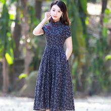 改良款pu袍连衣裙年xi女棉麻复古老上海中国式祺袍民族风女装