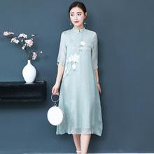 禅意茶pu民族中国风xi良旗袍连衣裙文艺宽松茶艺师服装女春夏
