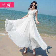 202pu白色雪纺连on夏新式显瘦气质三亚大摆长裙海边度假沙滩裙