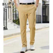 高尔夫pu裤男士运动sa季薄式防水球裤修身免烫高尔夫服装男装