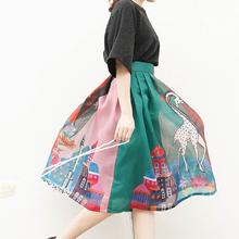 欧根纱pu字半身裙中sa夏新品印花伞裙复古高腰蓬蓬裙百褶裙