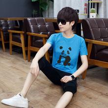 10大pu11男孩子sa(小)学生13夏天短袖t恤衫14衣服装15岁穿套装潮
