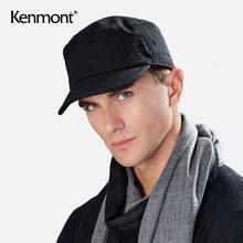 卡蒙纯pu平顶大头围ou男秋冬季军帽棉四季式软顶男士春夏帽子
