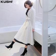 赫本风毛呢大衣女中长式加厚呢子秋冬pu14质白色nt新式外套冬装