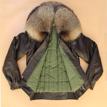 特价大pu0貉毛领加nt车航空短式真皮皮衣头层牛皮外套皮夹克