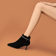 [puent]新款女士磨砂皮短靴女细跟
